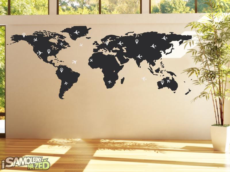 Samolepky na zeď - Samolepka na zeď - Letecká mapa světa