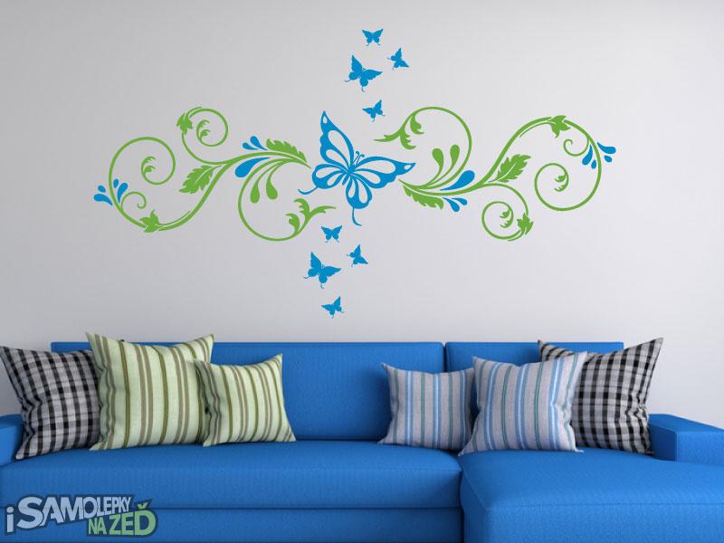 Samolepky na zeď - Samolepky na zeď - Ornament s motýlky