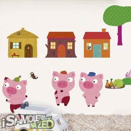 Samolepky na zeď - 3 little pigs