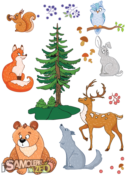 Dětské samolepky na zeď - Lesní zvířátka