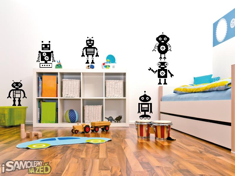 Dětské samolepky na zeď - Roboti - sada