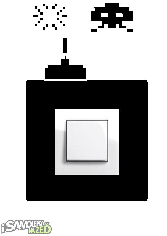 Samolepky pod vypínače - Samolepka pod vypínač - Space invaders