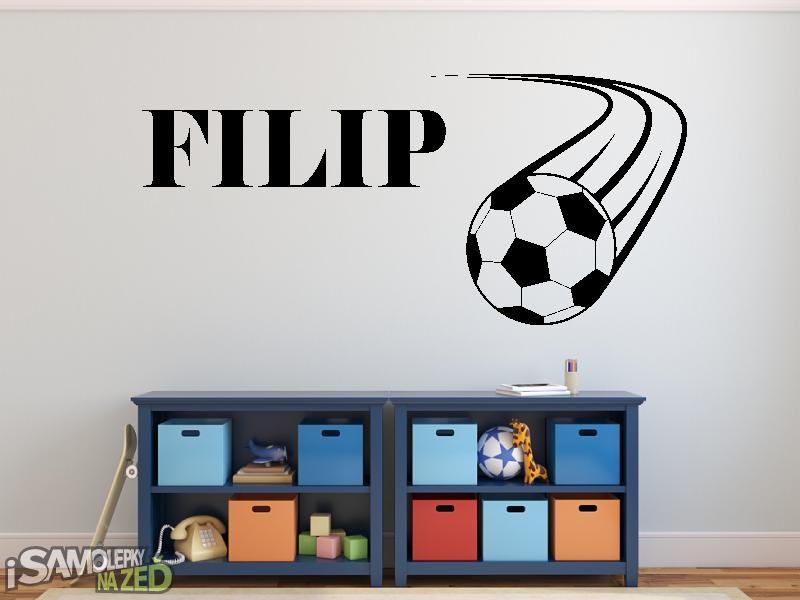 Dětské samolepky na zeď - Samolepka na zeď - Fotbalový míč s Vaším jménem