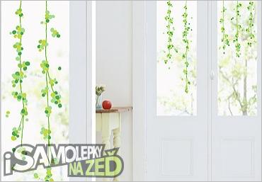 Samolepky na zeď - Zelené bobule - samolepka na sklo