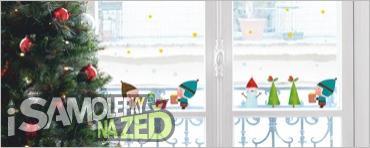 Samolepky na zeď - Vánoční dekorace na sklo Elves and gifts
