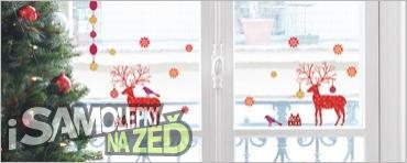 Samolepky na zeď - Vánoční dekorace na sklo The deer