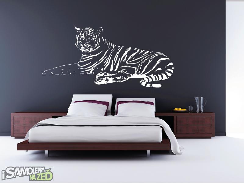 Samolepky na zeď - Ležící tygr - výprodej