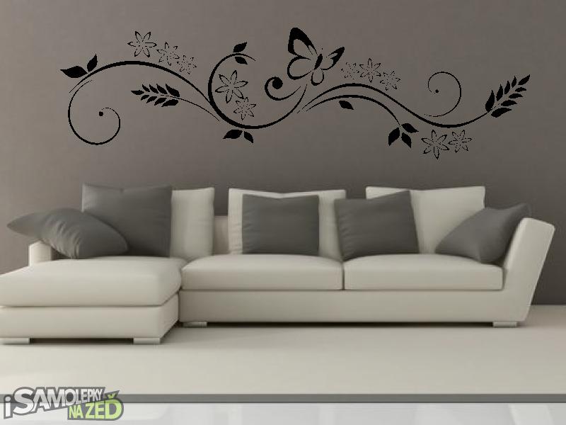 Samolepky na zeď - Samolepka na zeď - Motýl s ornamentem V2