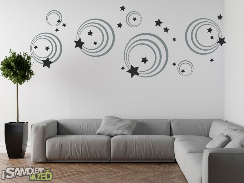 Samolepky na zeď - Samolepka na zeď - Kruhy a hvězdy