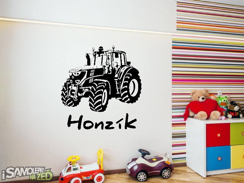 Dětské samolepky na zeď - Samolepka na zeď - Traktor s vlastním jménem