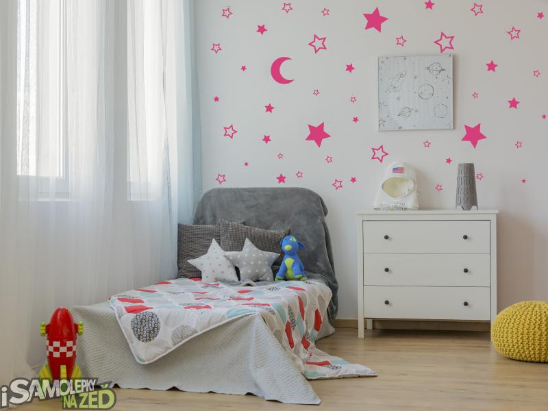 Samolepky na zeď - Měsíc a hvězdy - růžová