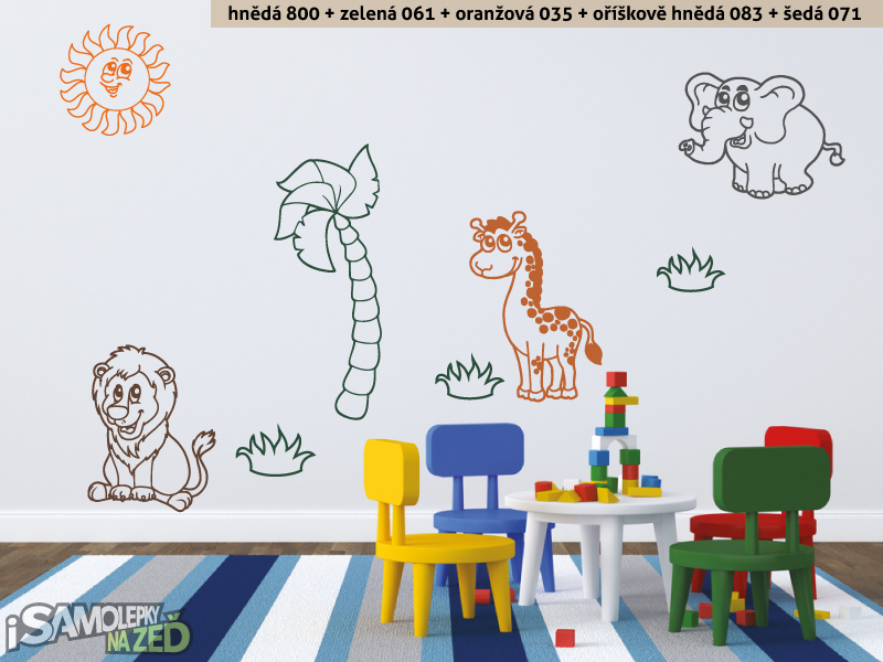 Dětské samolepky na zeď - Samolepka na zeď - Safari zvířátka