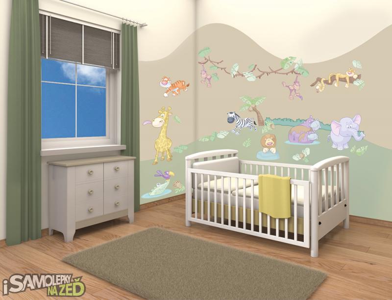 Dětské samolepky na zeď - dekorace baby džungle