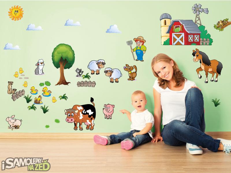 Dětské samolepky na zeď - Samolepka na zeď - Velká sada farma