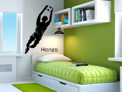 Samolepka na zeď - Fotbalový brankář s vlastním jménem