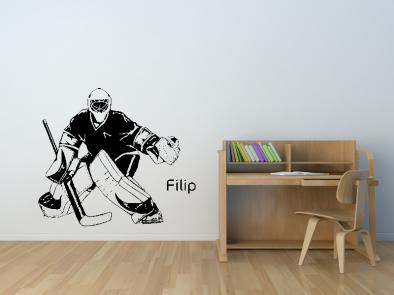 Samolepka na zeď - Hokejový brankář s vlastním jménem