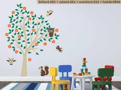 Samolepka na zeď - Sovy na stromě