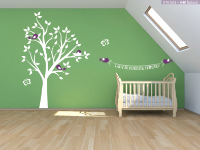 Samolepka na zeď - Strom se jménem a ptáčky