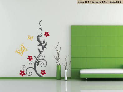 Samolepka na zeď - Keř s motýlky