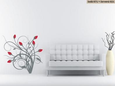 Samolepka na zeď - Keřík růží