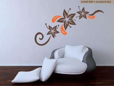 Samolepka na zeď - Květinová dekorace 3