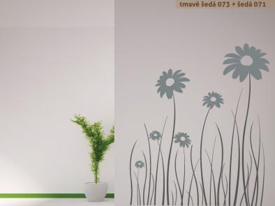 Samolepka na zeď - Luční květiny dvoubarevné