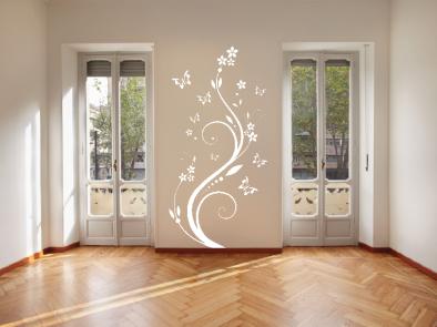Samolepka na zeď - Pnoucí květina s motýlky
