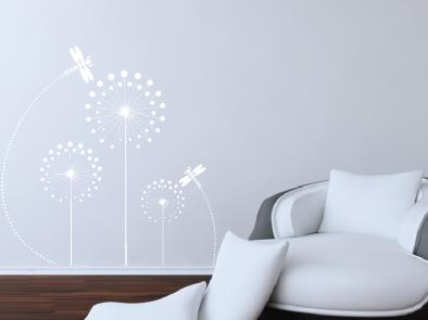 Samolepka na zeď - Pampelišky s vážkou