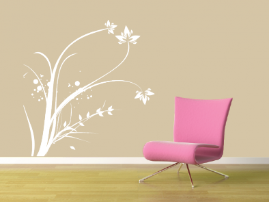 Samolepka na zeď - Vysoký květinový motiv 2