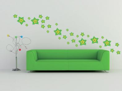 Samolepka na zeď - Květy dvoubarevné