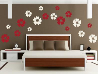 Samolepka na zeď - Květy dvoubarevné 2
