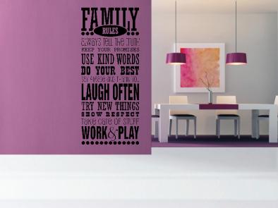 Samolepka na zeď - Rodinná pravidla EN
