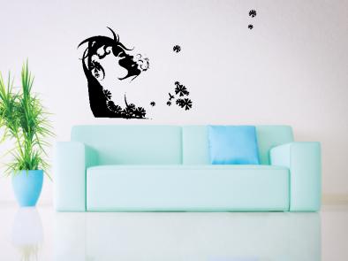 Samolepka na zeď - Zasněná dívka