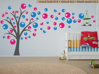 Samolepka na zeď - Strom s bublinami