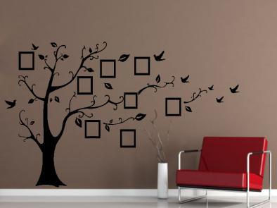 Samolepka na zeď - Rodinný strom s fotorámečky