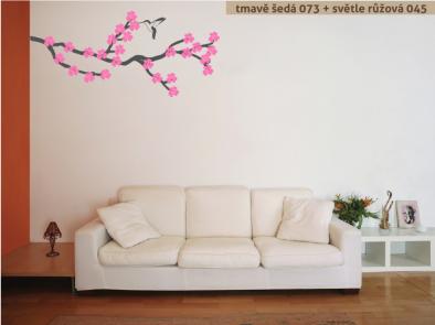 Samolepka na zeď - Rozkvetlá větev