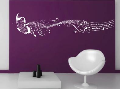 Samolepka na zeď - Motýlí ornament s notami