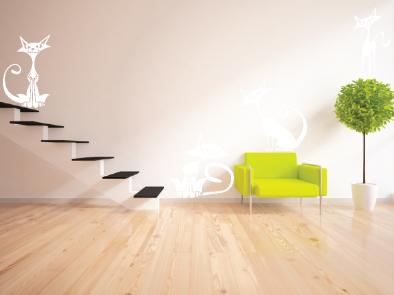 Samolepka na zeď - Moderní kočky