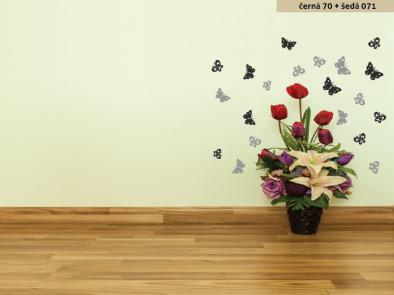Samolepka na zeď - Dvoubarevní motýlci