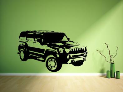 Samolepka na zeď - Teréní auto tmavé