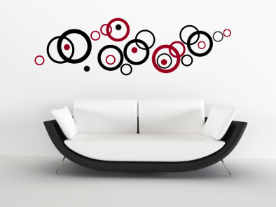 Samolepka na zeď - Dvoubarevná soustava kruhů