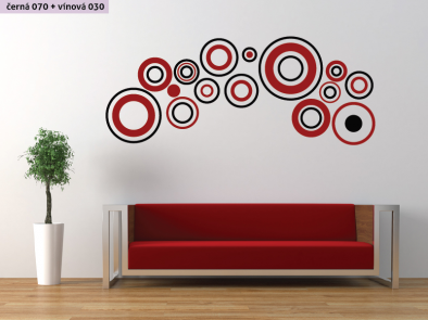 Samolepka na zeď - Dvoubarevné kruhy