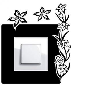 Samolepka na vypínač - květinky v2