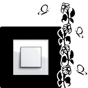 Samolepka na vypínač - motýlci a květina
