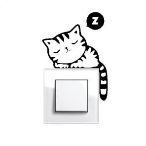 Samolepka pod vypínač - Spící kočka