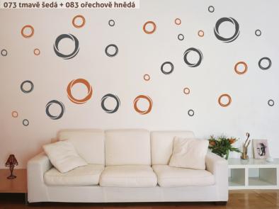 Samolepka na zeď - Moderní kruhy dvoubarevné