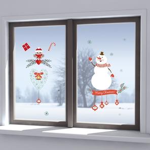 Vánoční samolepka na okna - Sněhulák
