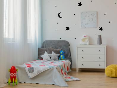 Samolepka na zeď - Měsíc a hvězdy