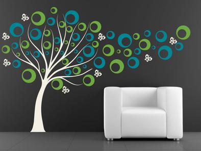 Samolepka na zeď - Strom s bublinkami V3