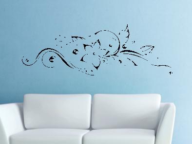 Samolepka na zeď - Květinový ornament V2